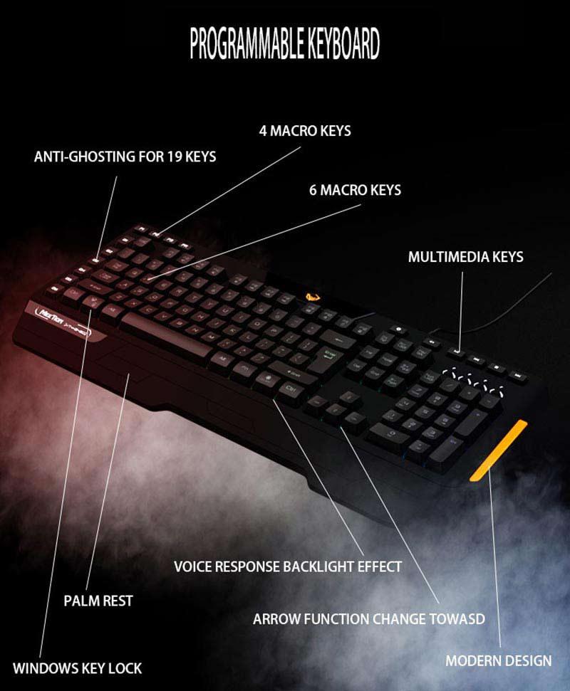 Meetion คีย์บอร์ดเกม Custom Macro Pro Membrane Gaming Keyboard K9420